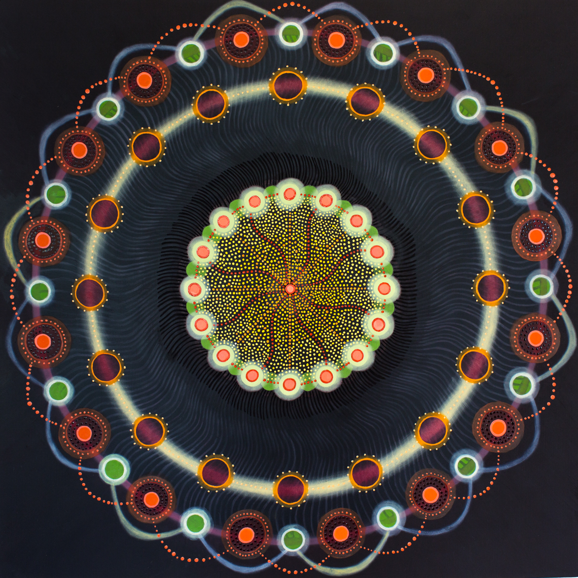 life energy mandala #238, oil on panel, 30x30 inches, commission